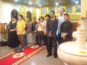 A group of students with the Lutheran leader, Jukka Helle, visits the Orthodox Church of All Saints in Pattaya.