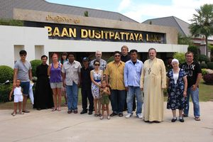 archimandrite Oleg (Cherepanin), management and representatives of «Dusit Pattaya Co. Ltd.» company, and parishioners of All-saints church in Pattaya at the meeting in «Baan Dusit Pattaya» village